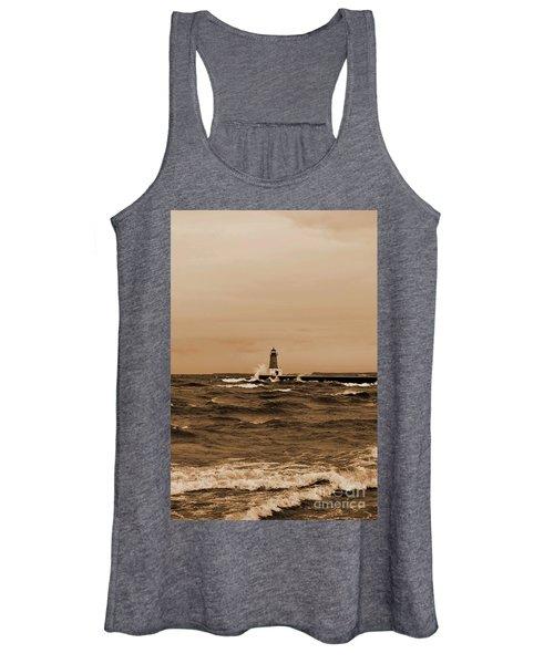 Storm Sandy Effects Menominee Lighthouse Sepia Women's Tank Top