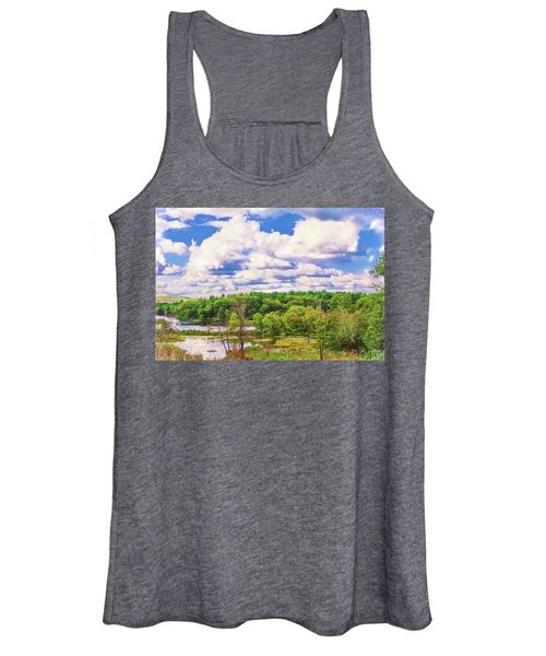 Striking Clouds Above Small Water Inlet And Green Trees Women's Tank Top