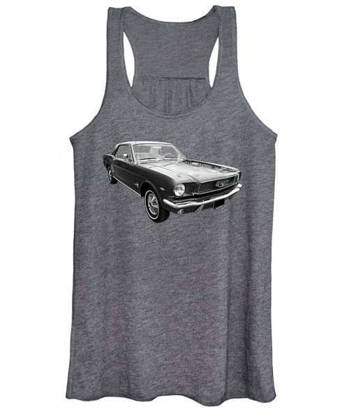 Stunning 1966 Mustang In Black And White Women's Tank Top
