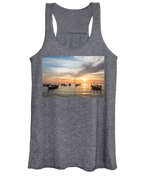 Stunning Sunset Over Wooden Boats In Koh Lanta In Thailand Women's Tank Top