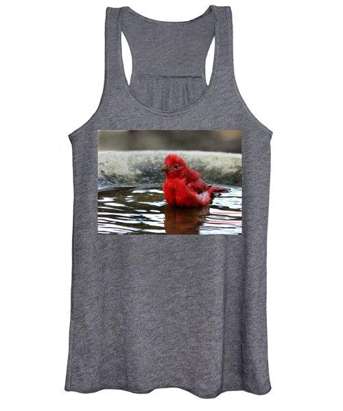 Summer Tanager In Bird Bath Women's Tank Top