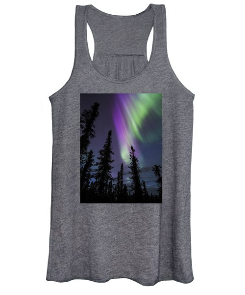 Sun-kissed Aurora Above The Spruces Women's Tank Top