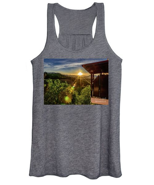 Sunburst View From Dellas Boutique Hotel Near Meteora In Kastraki, Kalambaka, Greece Women's Tank Top