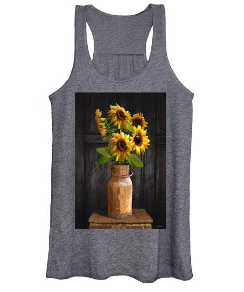 Sunflowers In Copper Milk Can Women's Tank Top