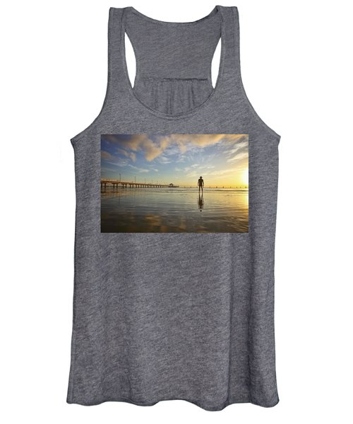 Sunrise Silhouette Down By The Pier. Women's Tank Top