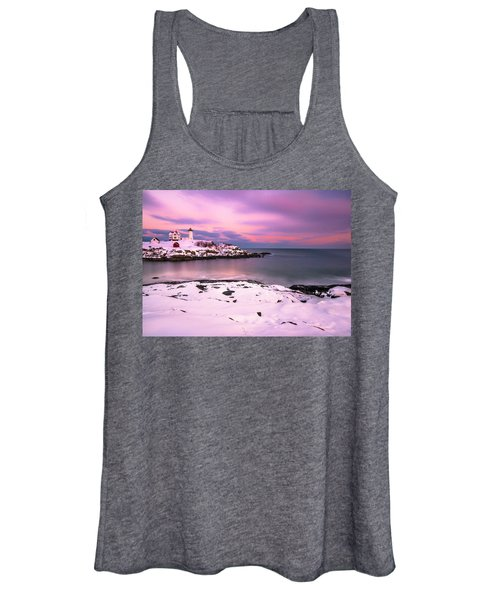 Sunset At Nubble Lighthouse In Maine In Winter Snow Women's Tank Top