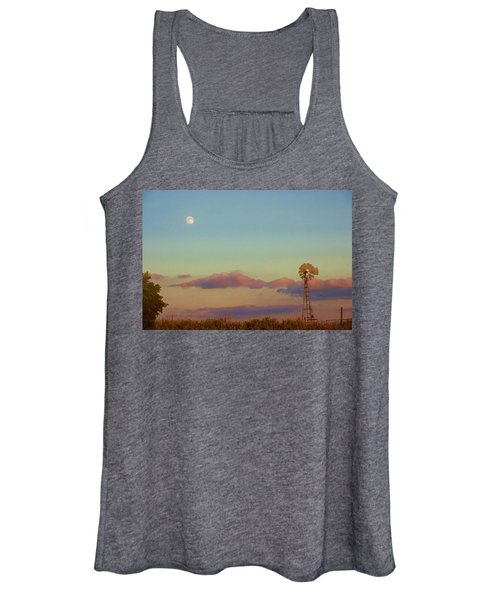 Sunset Moonrise With Windmill  Women's Tank Top