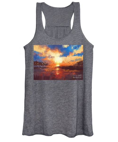 Women's Tank Top featuring the painting Sunset by Tithi Luadthong