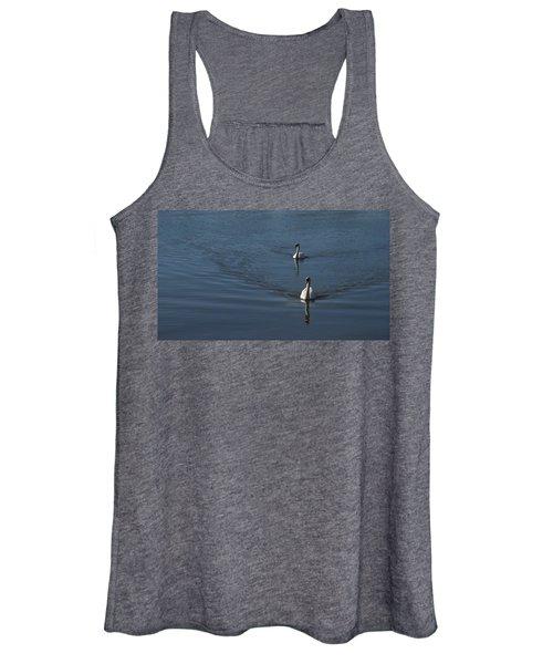 Swans On Deep Blue Women's Tank Top
