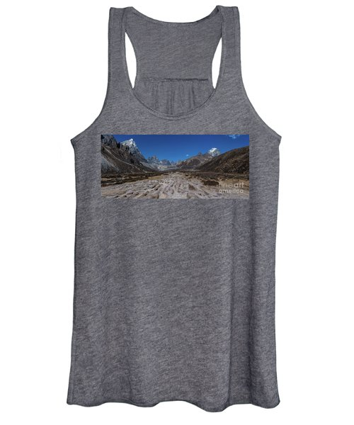 Tabuche And Awi Peak With The Trail To Pheriche Down The Middle Women's Tank Top
