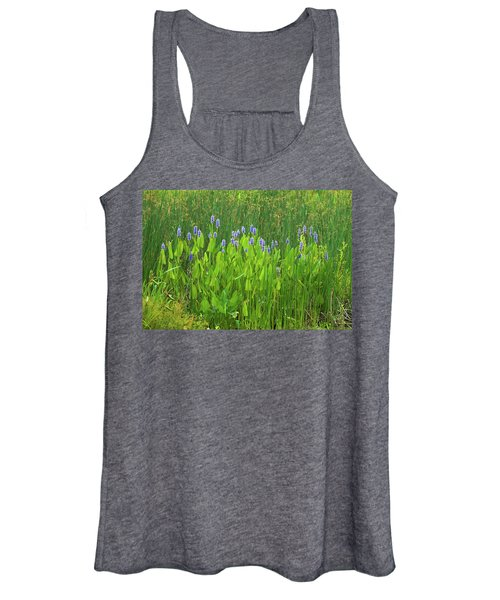 Tall Purple And Blue Blooming Flowers Women's Tank Top