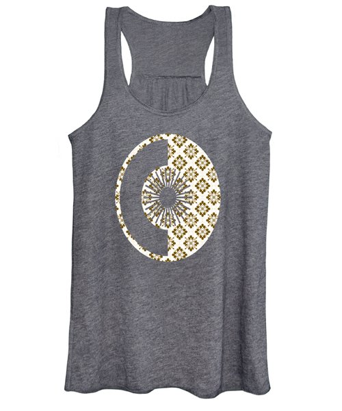 Taupe Floral Pattern Women's Tank Top