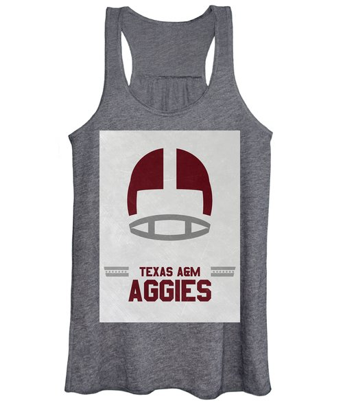 Texas A M Aggies Vintage Football Art Women's Tank Top