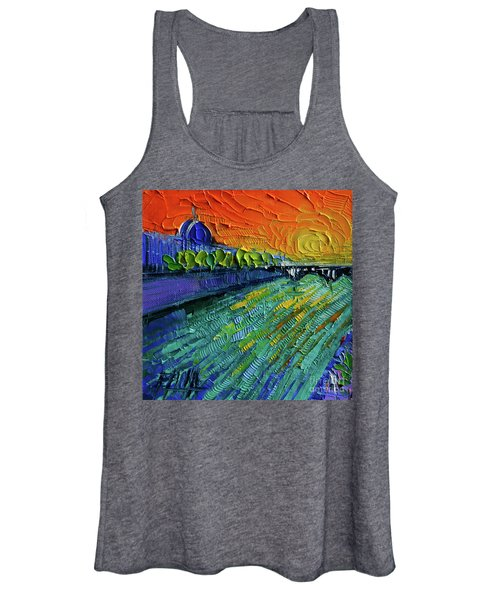 The Rhone River Palette Knife Oil Painting By Mona Edulesco Women's Tank Top
