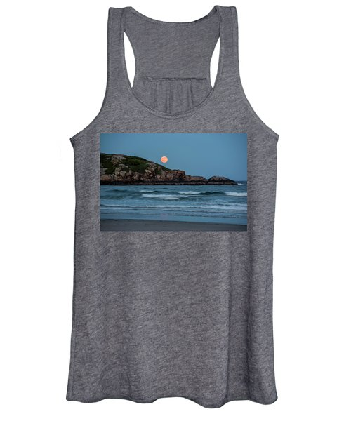 The Strawberry Moon Rising Over Good Harbor Beach Gloucester Ma Island Women's Tank Top