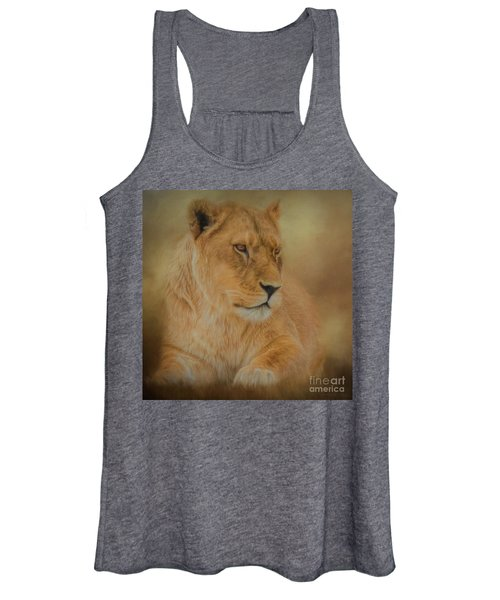 Thoughtful Lioness - Square Women's Tank Top