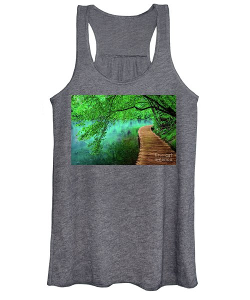 Tree Hanging Over Turquoise Lakes, Plitvice Lakes National Park, Croatia Women's Tank Top