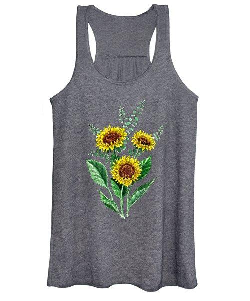 Three Playful Sunflowers Women's Tank Top