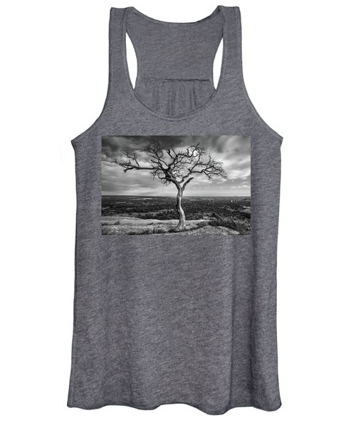 Tree On Enchanted Rock In Black And White Women's Tank Top