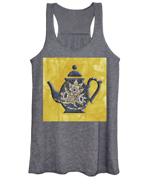 Tulips And Willow Pattern Teapot Women's Tank Top