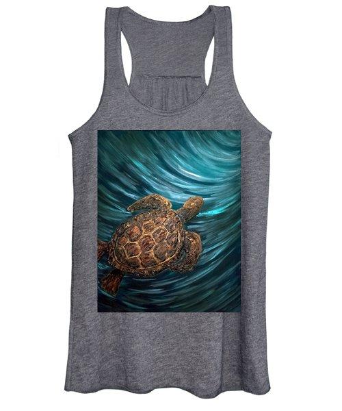 Turtle Wave Deep Blue Women's Tank Top