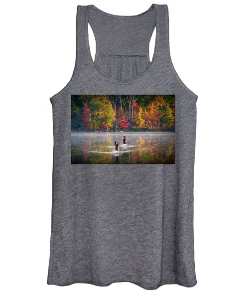 Two Canadian Geese Swimming In Autumn Women's Tank Top