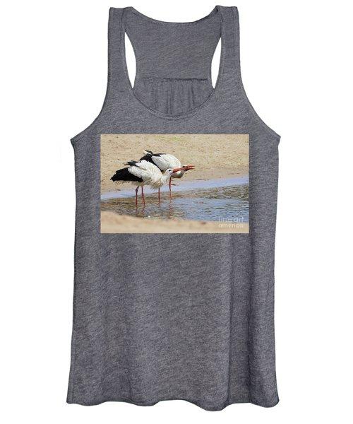 Two Drinking White Storks Women's Tank Top