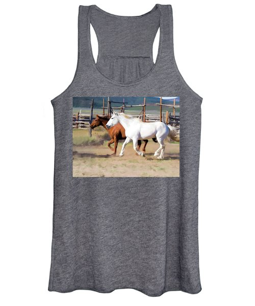 Two Ranch Horses Galloping Into The Corrals Women's Tank Top