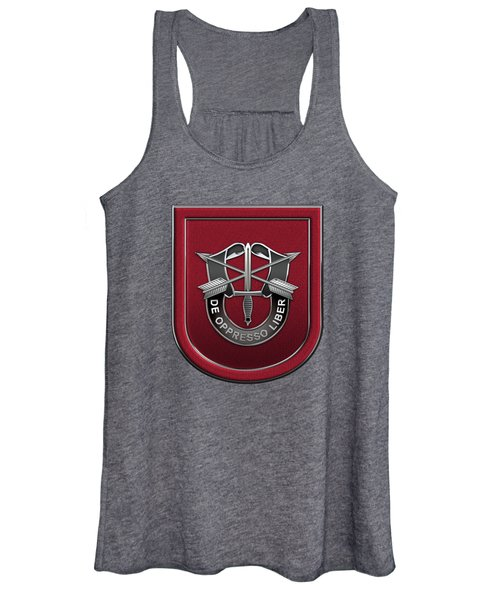 U. S.  Army 7th Special Forces Group - 7 S F G  Beret Flash Over Green Beret Felt Women's Tank Top