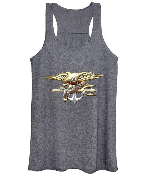 U. S. Navy S E A Ls Emblem On Black Women's Tank Top