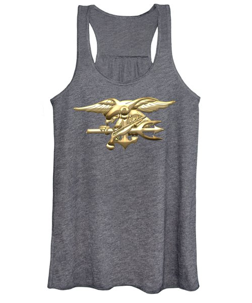 U. S. Navy S E A Ls Emblem On Blue Velvet Women's Tank Top