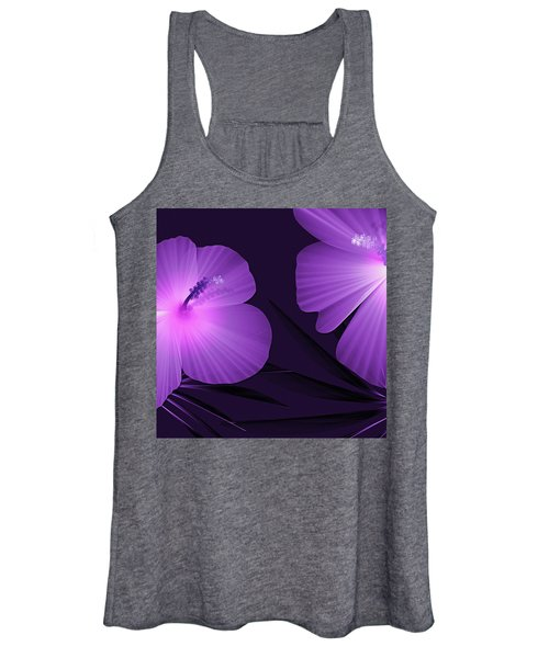 Ultraviolet Hibiscus Tropical Nature Print  Women's Tank Top