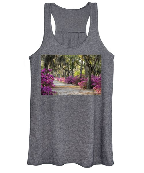 Unpaved Road With Azaleas And Oaks Women's Tank Top