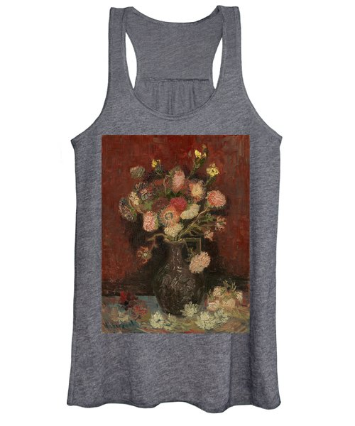 Vase With Chinese Asters And Gladioli Women's Tank Top