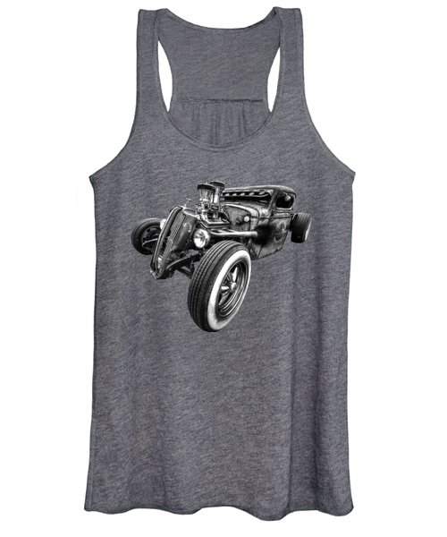 Vermin's Diner Rat Rod Front In Black And White Women's Tank Top