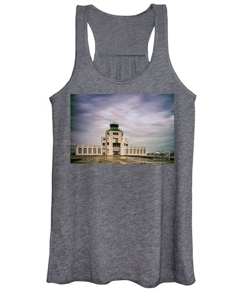 Vintage Architectural Photograph Of The 1940 Air Terminual Museum - Hobby Airport Houston Texas Women's Tank Top