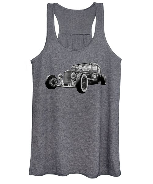 Vintage Hot Rod In Black And White Women's Tank Top