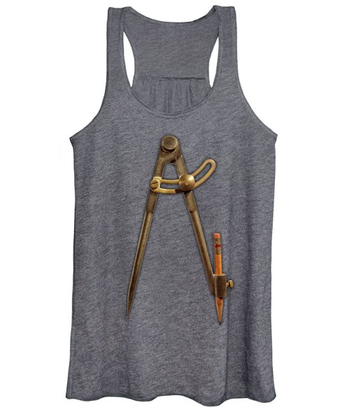 Vintage Iron Compass Floating Over White Women's Tank Top