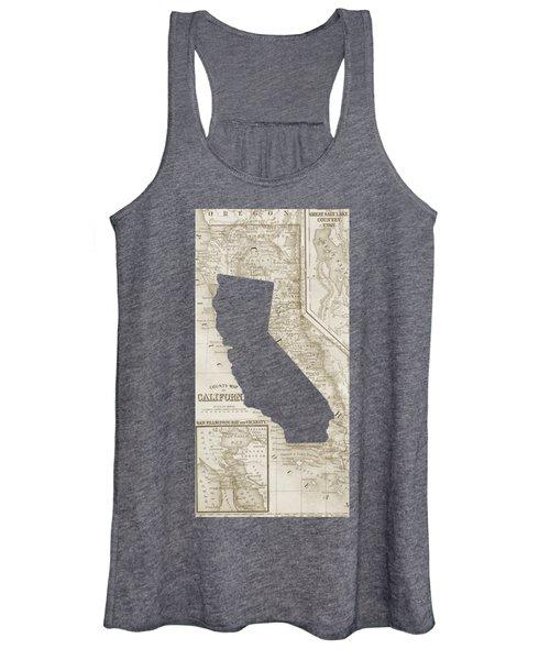Vintage Map Of California Phone Case Women's Tank Top