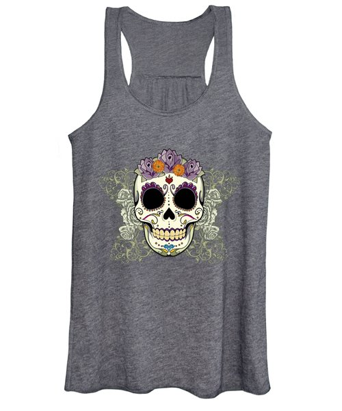 Vintage Sugar Skull And Flowers Women's Tank Top