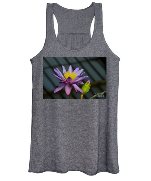 Violet And Yellow Water Lily Flower With Unopened Bud Women's Tank Top