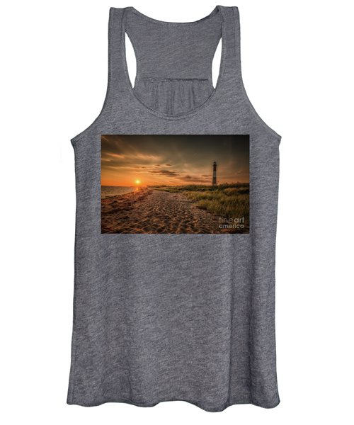 Warm Sunrise At The Fire Island Lighthouse Women's Tank Top