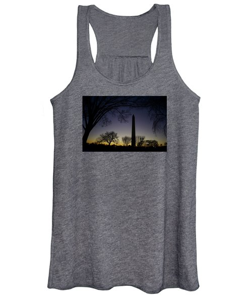 Washington Monument At Twilight With Moon Women's Tank Top