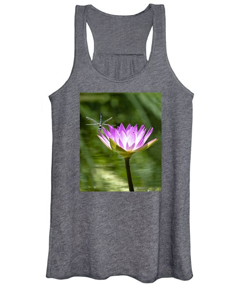 Water Lily With Dragon Fly Women's Tank Top
