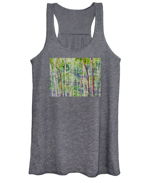 Watercolor - Magical Aspen Forest After A Spring Rain Women's Tank Top