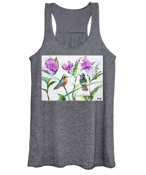 Watercolor - Purple-throated Mountain Gems And Flowers Women's Tank Top