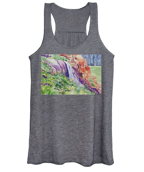 Watercolor - Small Waterfall In The Rockies Women's Tank Top