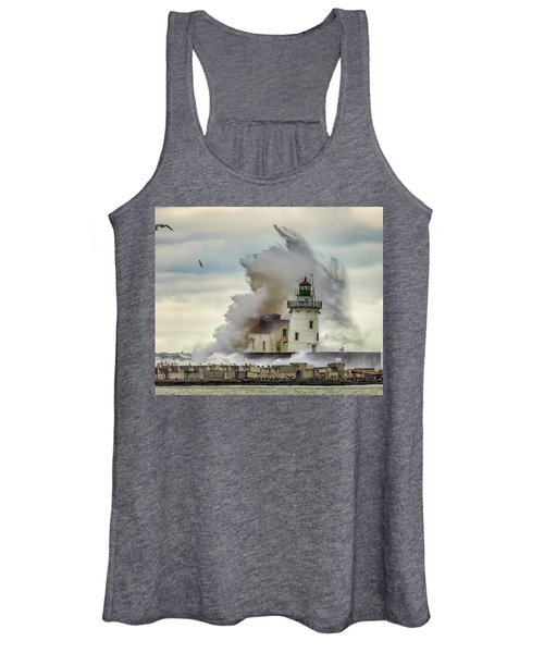 Waves Over The Lighthouse In Cleveland. Women's Tank Top
