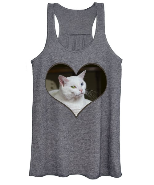 White Cat On A Transparent Heart Women's Tank Top