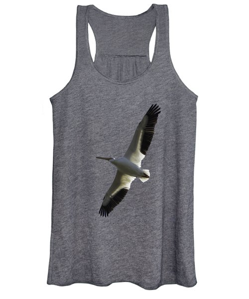 White Pelican In Flight Transparency Women's Tank Top
